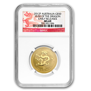 2012 1/2 oz Gold Lunar Year of the Dragon MS-69 NGC (SII, ER)